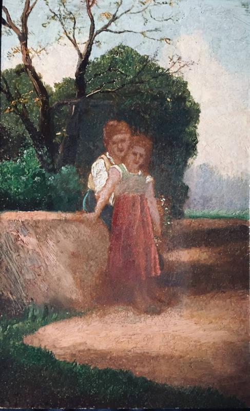 Deux enfants assis sur un muret