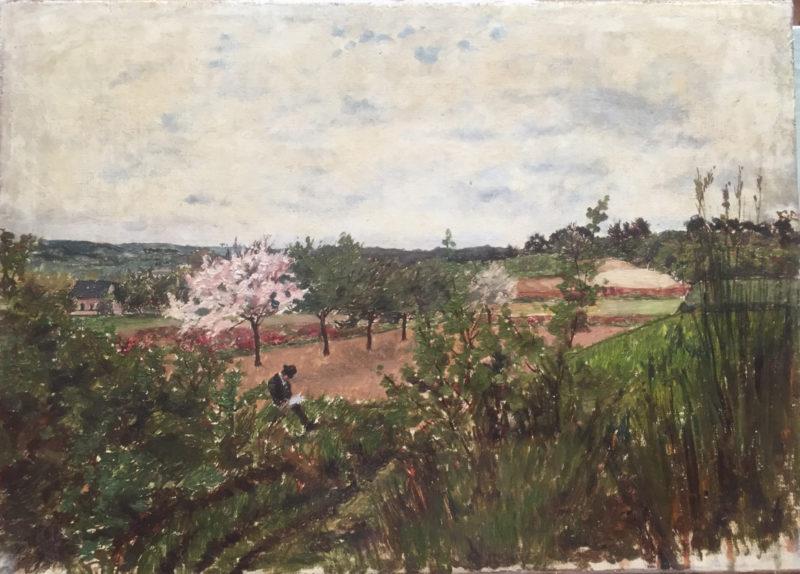 Paysage au pommier en fleurs